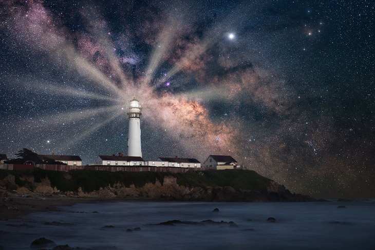 Astronomy photographs of the night sky and nightscapes by Marcin Zajac, Guiding Light, Pigeon Point, the tallest lighthouse along the entire west coast