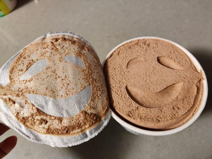 Everyday items with unexpected faces that, once seen, can never be unseen, ice cream cup with smiley face indent