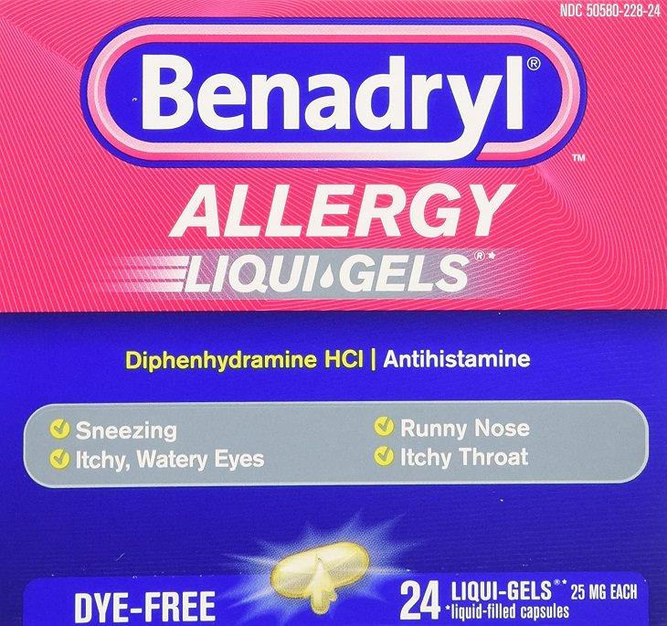 Cover for box of Benadryl Allergy Liqui-Gel Capsules, social media challenge has kids taking dangerous excess amounts of Benadryl