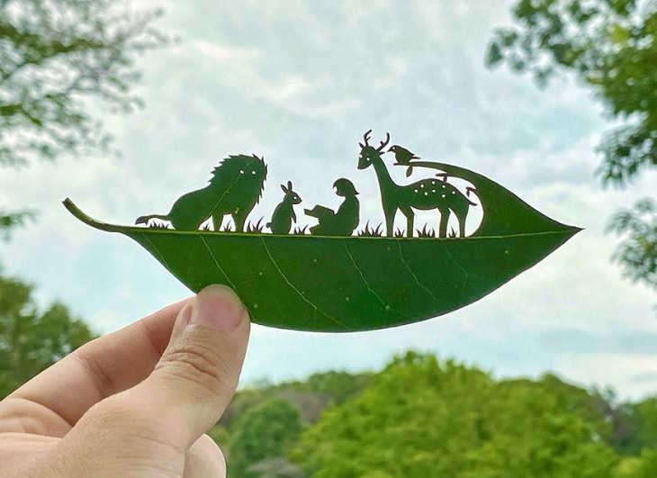 Lito Leaf Art, Japanese artist carves out detailed and intricate drawings of animals on leaves, The Librarian of the Forest