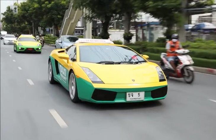 Bizarre, strange, unique and creatively designed taxi cabs found all around the world, Lamborghini Taxi, Thailand