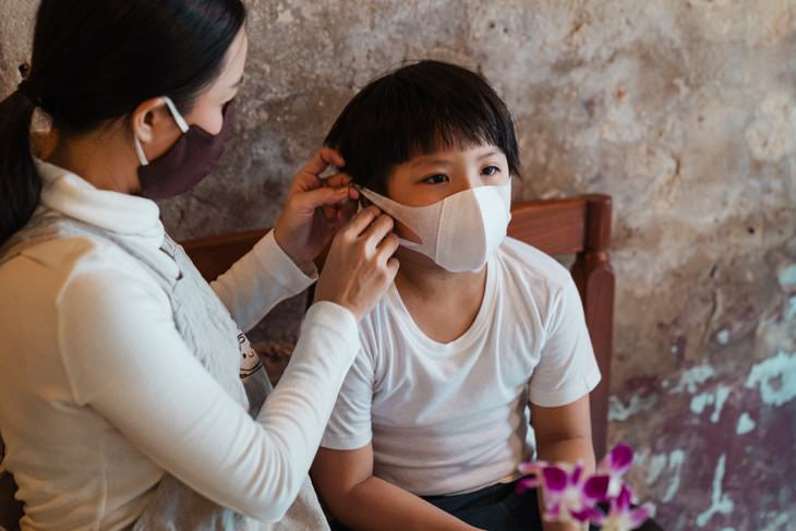 COVID Toes, coronavirus masks parent and child