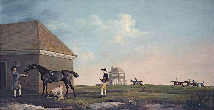 Best horse-inspired paintings by English artist George Stubbs who influenced 18th century romanticism, Gimcrack on Newmarket Heath, with a Trainer, a Stable-lad, and a Jockey, 1765