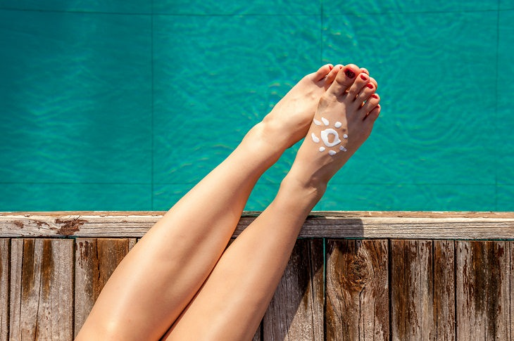 Sunscreen, areas,  tops of your feet