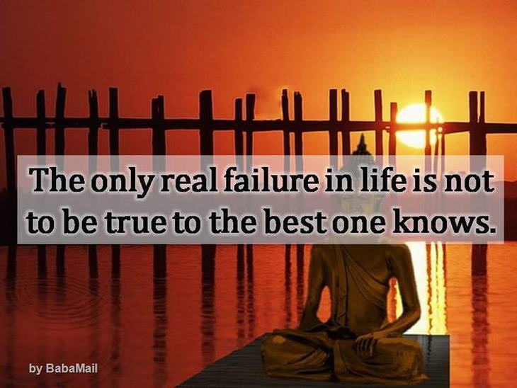 Buddha - The only real failure in life is not to be true to the best one knows.