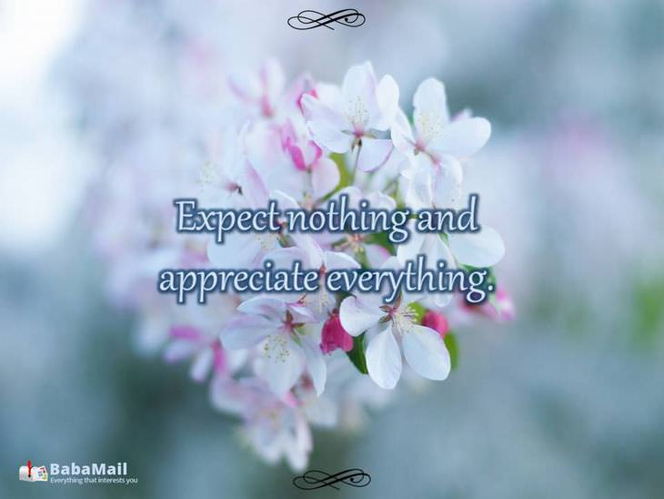 Expect nothing and appreciate everything.