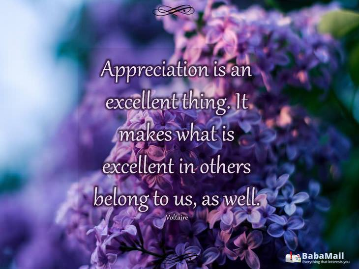 beautiful quotes: Appreciation is an excellent thing. It makes what is excellent in others belong to us as well. - Voltaire