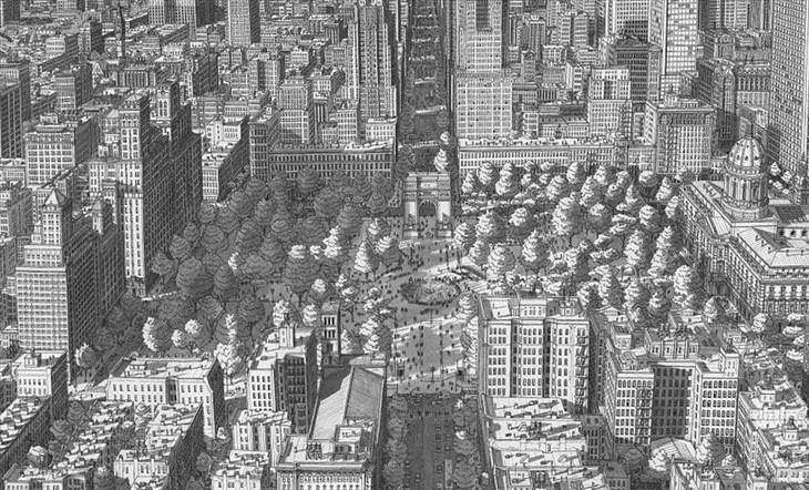 Stefan Bleekrode, cityscapes, pencil, art