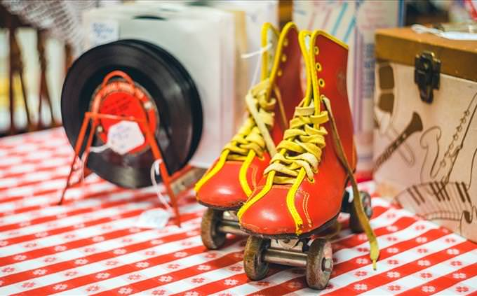 retro roller skates and records
