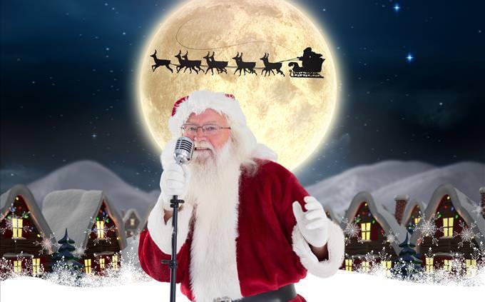 Santa singing in town