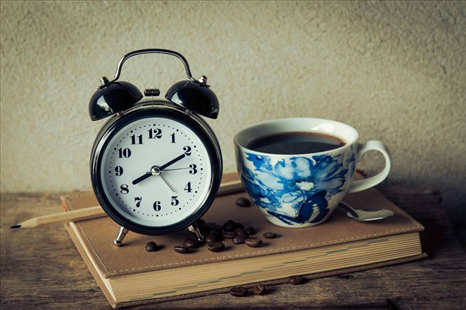 coffee and alarm clock