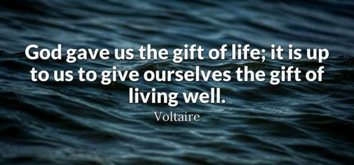 Voltaire - God gave us the gift of life; it is up to us to give ourselves the gift of living well.