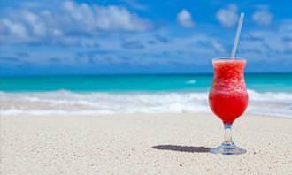 A glass at the beach