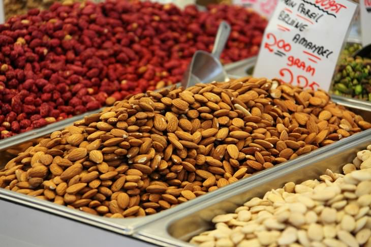 almonds at market