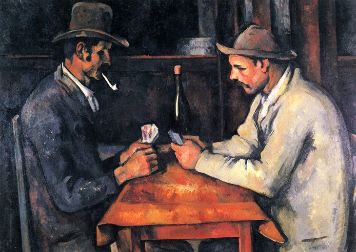 Famous French paintings: Les Joueurs de Cartes