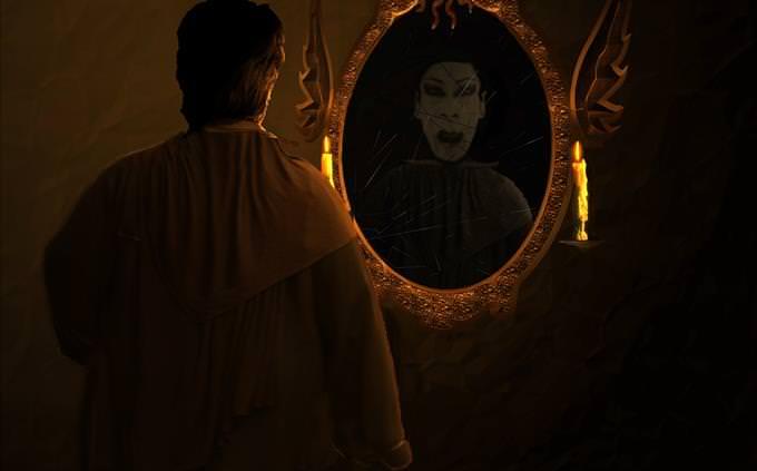 Dracula looking in mirror