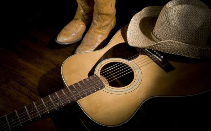 guitar and cowboy hat and boots
