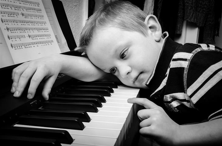 child playing an instrument