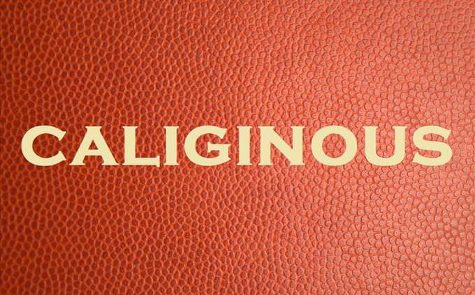 'calignous' on red leather background