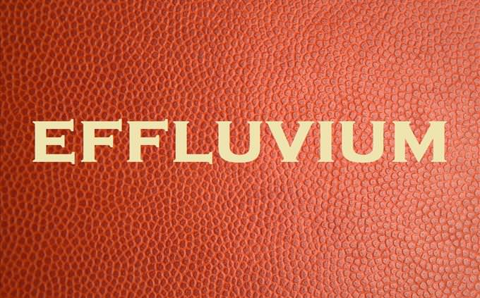 'effluvium' on red leather background