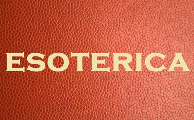 'esoterica' on red leather background
