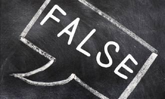 False in speech bubble