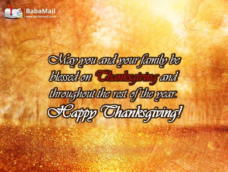 May You and Your Family Be Blessed on Thanksgiving!