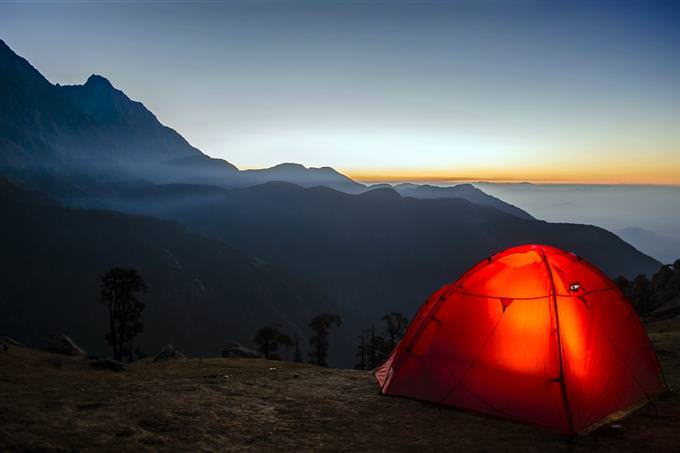A tent on a mountain