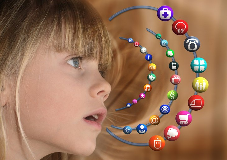 girl and different app logos