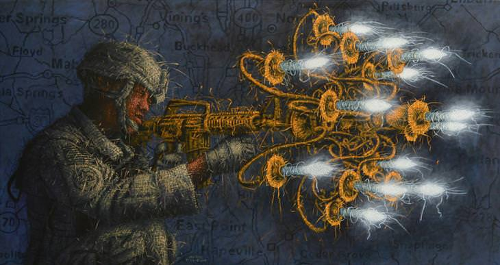 Obras de arte con efecto de Tejido de Alexi Torres soldado con metralleta