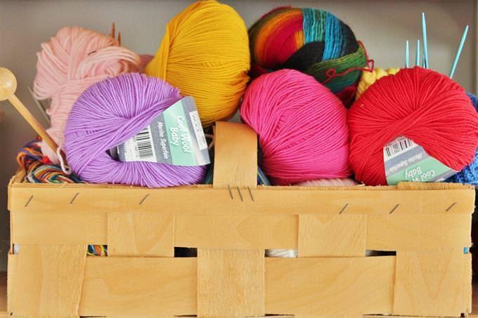 A pile of wool yarn