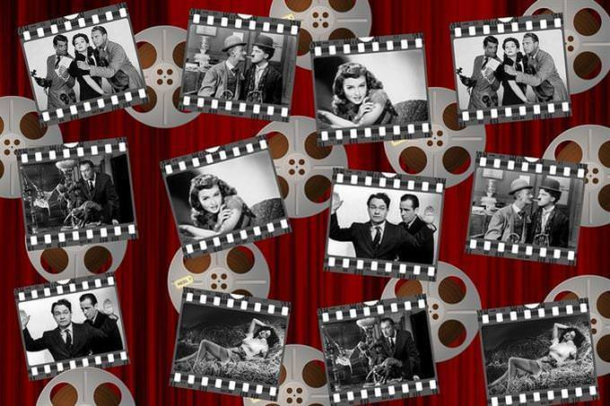 Collage of black and white pictures