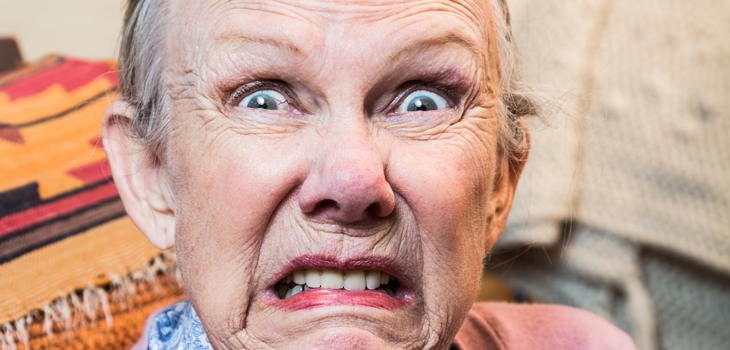 short senior jokes - old woman making a disgusted scary face