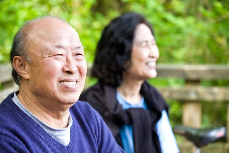Chinese people laughing and smiling