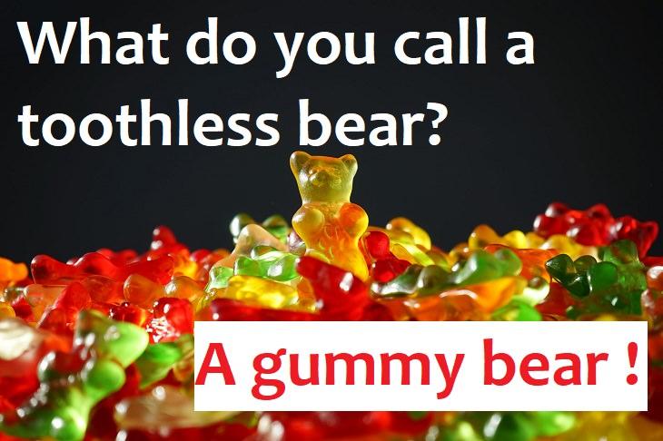 What do you call a toothless bear? A Gummy bear. really funny joke