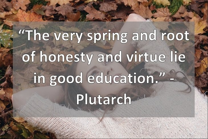 """The very spring and root of honesty and virtue lie in good education."" -  Plutarch"