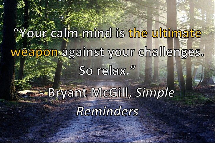 """Your calm mind is the ultimate weapon against your challenges. So relax."" - Bryant McGill, Simple Reminders: Inspiration for Living Your Best Life"