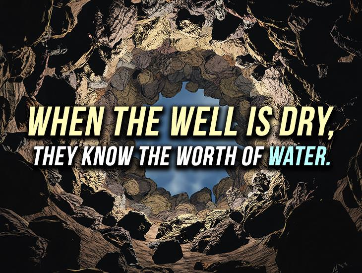 You Know The Worth Of Water When The Well Is Dry
