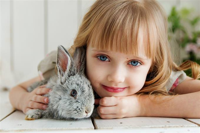 A girl with a rabbit