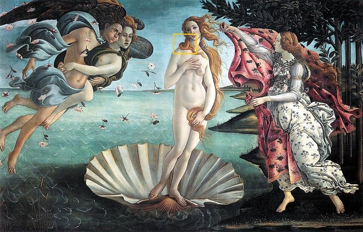 curious detail in famous art Botticelli, The Birth of Venus