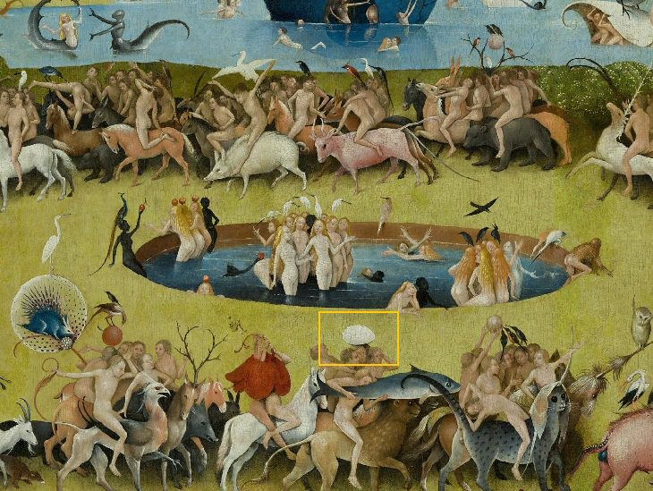 curious detail in famous art Hieronymus Bosch, The Garden of Earthly Delights (1505-1510)