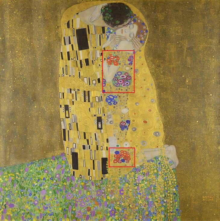 curious detail in famous art klimt the kiss