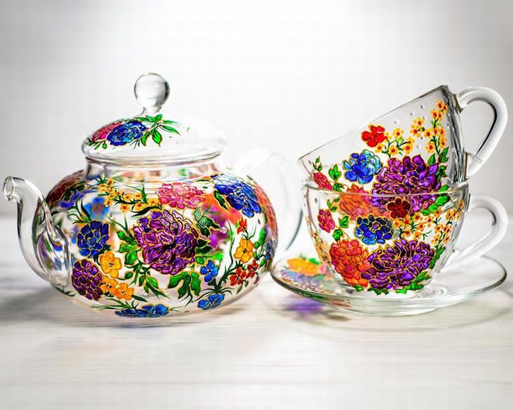 Vitraaze glassware hand painted art