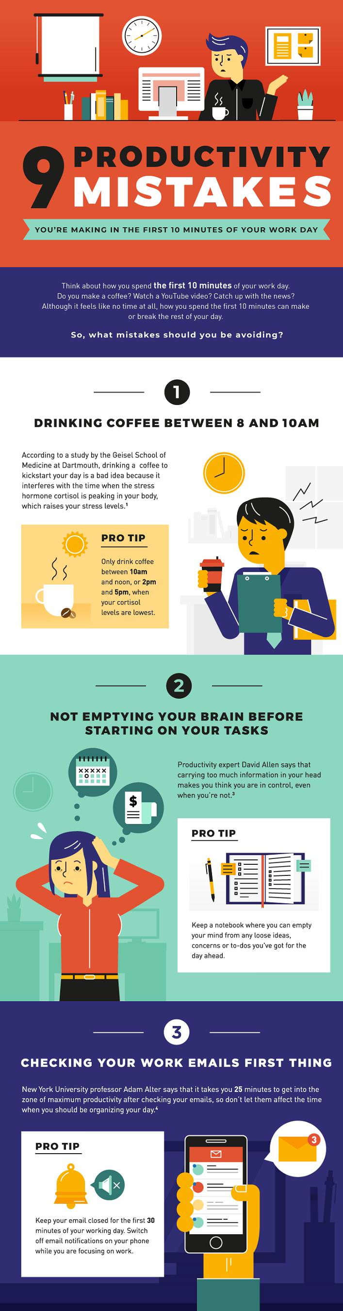 9 work productivity mistakes infographic