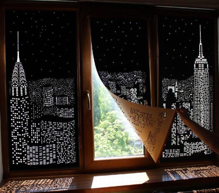 useful design innovations New York skyline curtains