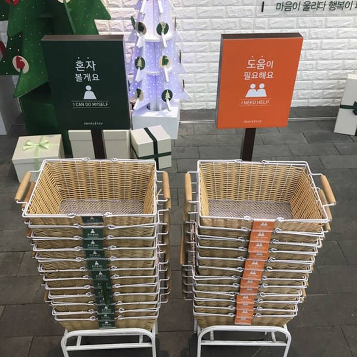 useful design innovations  color coded shopping baskets