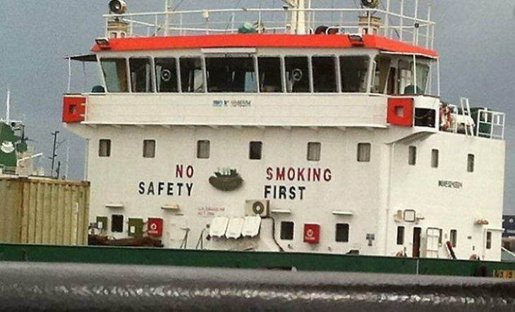 funny signs No safety, smoking first