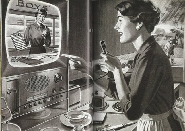25 Silly and Fun Futuristic Inventions of the Past  illustration from the1940's depicting home shopping