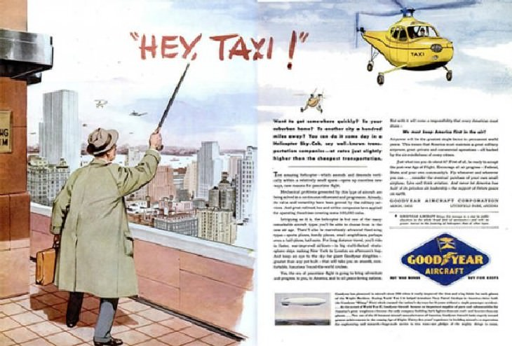 25 Silly and Fun Futuristic Inventions of the Past helicopter cab