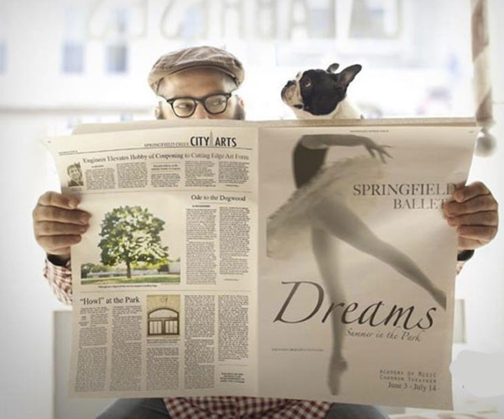 optical illusions dog ballerina newspaper